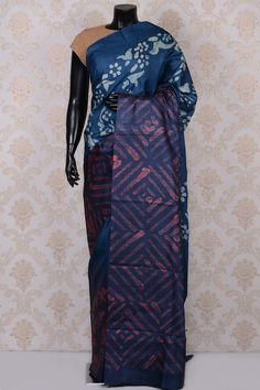 #Midnight blue attractive printed #tussar #saree-SR18570