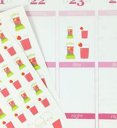 24 Fruit Smoothie Stickers – Perfect for Erin Condren, Plum Paper Planner, Inkwell Press, Filofax, Scrapbooking & More