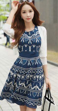 StyleOnMe_ Embroidered Sleeveless A-Line Dress #korean fashion #elegant