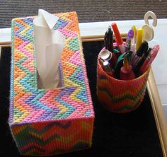 Tissue and pen holders