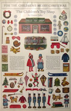 1912 Children's Christmas Toy Shop Paper Cut-Outs ~ Eleanor Colby, as presented in 'The Ladies Home Journal'