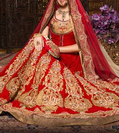 Red Embroidered #VelvetLehenga Set #Indianroots