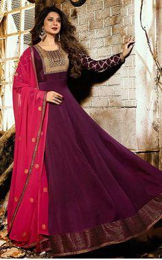 Get Jennifer Winget Black Color Silk Designer Anarkali Suit latest designer party wear salwar suits, wedding wear anarkali dress for women at VJV Fashions. Indian Gowns Dresses, Pakistani Dresses, Indian Outfits, Indian Clothes, Women's Dresses, Formal Dresses, Anarkali Dress, Anarkali Suits, Anarkali Bridal