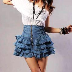 Making Ruffled Jean Mini Skirt