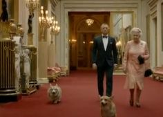 The other stars of the Queen's Olympic Bond movie: the corgis!