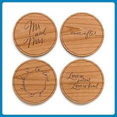 c242102061a2 Wedding Calligraphy Laser Cut Wood Coasters - Wedding gifts for the couple  ( Amazon Partner-Link)