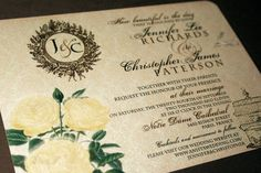Vintage Wedding Invitation - Whimsical French Baroque - Roses, Love Birds and Gold Embossed Bird Cage  Sample - Jennifer Collection