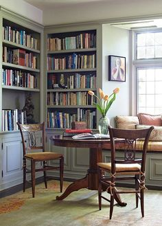 When we typically think of a library, a space that's dark and masculine immediately comes to mind. Since the books themselves are heavy with color and texture, sage is a lighter more airy option for your shelves.