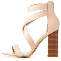 Charlotte Russe Caged Chunky Block Heel Sandals (€20) ❤ liked on Polyvore featuring shoes, sandals, nude, chunky heel sandals, block-heel sandals, nude block-heel sandals, cage sandals and nude heeled sandals