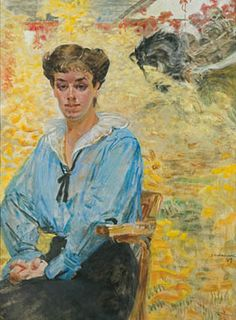 Jacek Malczewski - Woman in a blue blouse  1917
