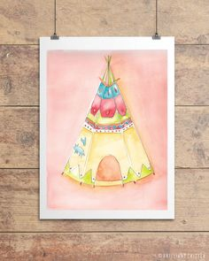 Teepee Watercolor Print  Teepee Children's by BrilliantCritter