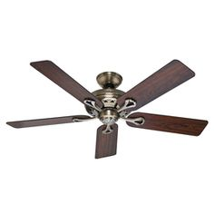 Hunter�The Savoy 52-in Antique Brass Ceiling Fan ENERGY STAR 139 living room and dining room