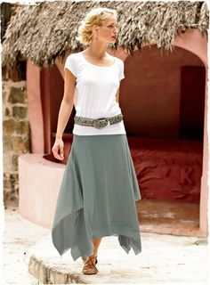 Pima Cotton Oyster Bay Skirt ~ Our breeze-blown skirt is constructed of two lightweight pima jersey layers that flow to a raw-edged handkerchief hem. Modest Outfits, Skirt Outfits, Modest Fashion, Cute Outfits, Fashion Outfits, Womens Fashion, Modest Clothing, Man Skirt, Skirt Belt