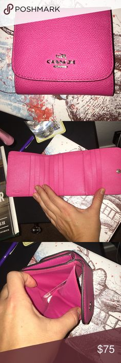 Hot pink Coach mini wallet (NWT) So cute! NWT coach mini wallet with plenty of pockets and room for cards Coach Bags Wallets