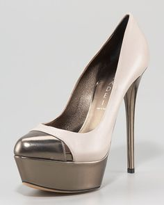 """Two-Tone Platform Pump by Casadei. Choose stone/anthracite or black/anthracite. Two-tone leather upper. Almond toe with cutout detail. 4"""" covered heel; ..."""