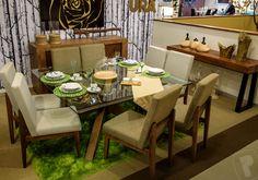 Colección #Natura: Mesa Veróna 55578, silla Dubai 55566 y 40937, buffet Lucerna 56138, cedrenza parota 62714, candelabro 60122