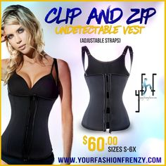 Clip and Zip Vest Shapewear Waist Trainer Medium NEW!!!! Most comfortable vest/waist trainer on the market. Real Shapewear that holds you without the artificial look. Includes 3 levels of adjustment as you size down. Includes adjustable straps. Vest has a total of 4 closures inside with 3 sets of hook and zipper for undetectable under clothing. YFF Intimates & Sleepwear Shapewear