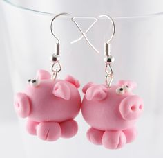 MUMPS pigs 3D polymer clay earrings. $5.50, via Etsy.