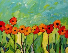 Gerber Daisies Abstract, Commissioned painting by Patty Baker by pattyabaker on Etsy