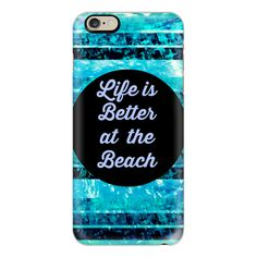 iPhone 6 Plus/6/5/5s/5c Case - LIFE IS BETTER AT THE BEACH - Colorful... ($40) ❤ liked on Polyvore featuring accessories, tech accessories, phone cases, iphone case, iphone cover case, blue iphone 4 case, iphone 6 case and apple iphone cases