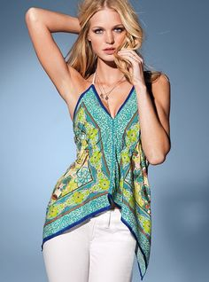 Scarf-print Cami Top - Victoria's Secret... not endorsing VS's sale by this link...but totally love this look!!