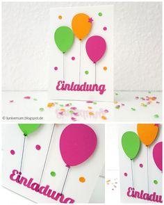 DIY: Einladungskarte Mit Luftabllons, Karte Ballons Bunt Knallig Konfetti  Einladung Geburtstag