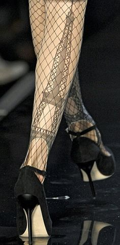 Jean Paul Gaultier Eiffel Tower Stockings ♥✤ www.SocietyOfWomenWhoLoveShoes.org https://www.facebook.com/SWWLS.Dallas Instagram @SocietyOfWomenWhoLoveShoes Twitter @ThePowerOfShoes