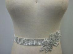 SALE - Wedding Belt, Bridal Belt, - Ivory/Off White Pearl with Crystal Rhinestone Applique - Style B154. $58.00, via Etsy.