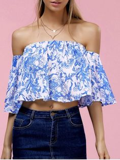 39fab14105 Fashionable Off The Shoulder Floral Print Crop Top For Women