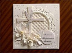 hania739 - Open Vintage Floret flowers Confirmation Cards, Baptism Cards, 3d Cards, Cute Cards, First Communion Cards, Christian Cards, Spellbinders Cards, Get Well Cards, Heartfelt Creations
