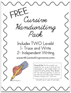 Love the other links she shares! Free Cursive Handwriting Pack