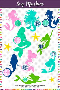 Mermaid SVG cut files, Mermaid Monogram Frame SVG cut files for Silhouette, cut files for Cricut, digital file - svg, eps, png, jpg and  dxf by svgmachine on Etsy https://www.etsy.com/listing/452636080/mermaid-svg-cut-files-mermaid-monogram