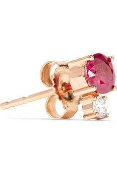 Jemma Wynne 18-karat Rose Gold, Ruby And Diamond Earring