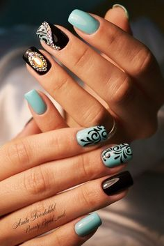 Beautiful evening nails, Black and blue nails, Black and turquoise nails, Black nails with rhinestones, Evening dress nails, Evening nails, Evening nails by gel polish, Festive nails