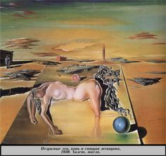 Salvador Dali - Invisible Sleeping Woman, Horse, Lion, 1930 - WikiPaintings.org