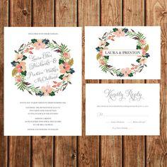 Wedding Invitations Floral Bohemian Vintage by BettyLuDesigns