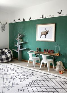 The chalkboard idea is so fun too. http://petitandsmall.com/green-decor-ideas-boys-room/#kidsroom