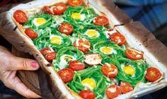 Mil-folhas com ovos de codorniz. Receita saudável e muito divertida para fazer com as crianças.
