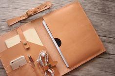 Macbook Air Discover Leather iPad Case iPad Pro Sleeve Hand Stitched iPad Air Covers Custom Made All Tablets iPad Pro Mini Italian Veg Tan Leather