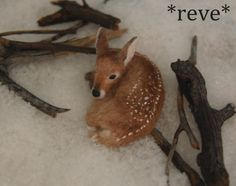 OOAK Realistic Miniature ~ Baby Fawn ~ Handmade Dollhouse 1:12 Sculpture