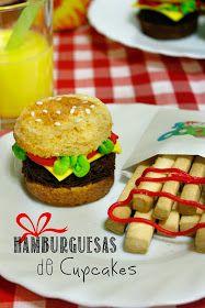 Trampantojo !! Cupcakes con forma de hamburguesas y patatas fritas que son galletas