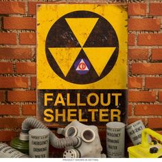Fallout Shelter Warning Rusted Look Steel Sign Vintage Style 12 x 16