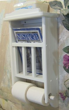 White Magazine Rack With Toilet Paper Tissue Holder And Shelf Made In The Usa