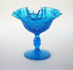 Fenton Footed Comport Fine Cut and Block Colonial Blue by TheSnapDragonsLair, $24.95