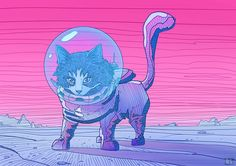 By Phazed | The Story Of Cloud The Cat [Trippy - Illustration - Kitten - Astronaut - Space]