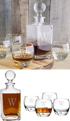 A handsome gift that your best man, groomsman or any guy on your gift list will be proud to display on their wet bar, this 5 piece 32 ounce square glass whiskey decanter and 11 ounce round whiskey glasses set laser engraved with a large single block initial really stands out when filled with his favorite bourbon or scotch whiskey. This whiskey serving set can be ordered at http://myweddingreceptionideas.com/personalized-whiskey-decanter-glasses-set.asp