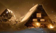 世界遺産白川郷でライトアップ 雪夜に合掌造り浮かぶ
