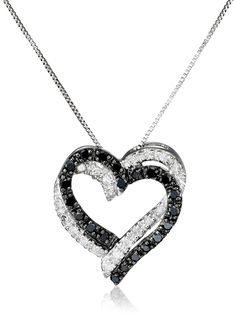 """10k White Gold Double Heart Black and White Diamond Pendant Necklace (1/5 cttw, I-J Color, I2-I3 Clarity), 18"""""""