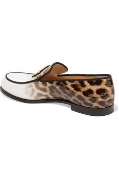 Christian Louboutin - Laperouza Appliquéd Leopard-print Patent-leather Loafers - Leopard print - IT36.5