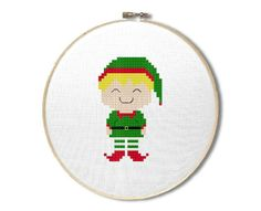 Christmas Elf Boy Cross Stitch Pattern PDF File for Instant Download.  The pattern contains a color picture, a useful information sheet, and a symbol chart with DMC legend.  Design size 1.71 W x 2.79 H (24 x 39 stitches) on 14 count Aida.  You will need Adobe Acrobat reader to open the PDF file. A free copy may be downloaded at the following link: http://get.adobe.com/reader/  Please note: ---------------- The pattern is for personal use only. No refunds are given once the pattern is…